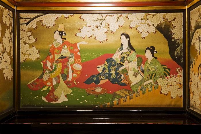 Cherry blossoms in art at Hyakudan kaidan